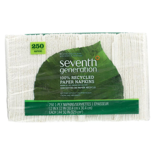 Seventh Generation Recycled Napkins - White - Case Of 12 - 250 Count