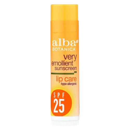 Alba Botanica - Very Emollient Sunblock Lipcare Spf 25 - 0.15 Oz - Case Of 24