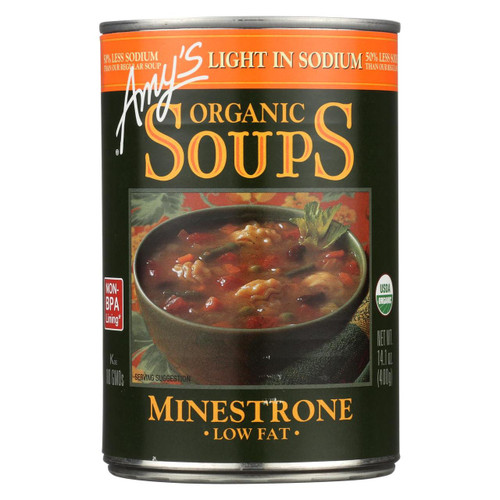Amy's - Organic Low Sodium Minestrone Soup - Case Of 12 - 14.1 Oz
