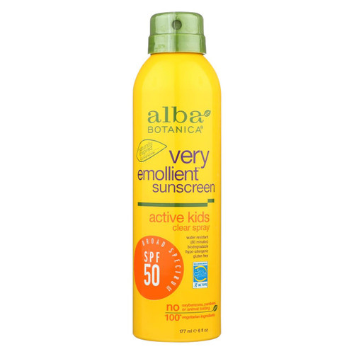 Alba Botanica - Sunscreen - Very Emollient - Clear Spray Spf 50 - Active Kids - 6 Oz