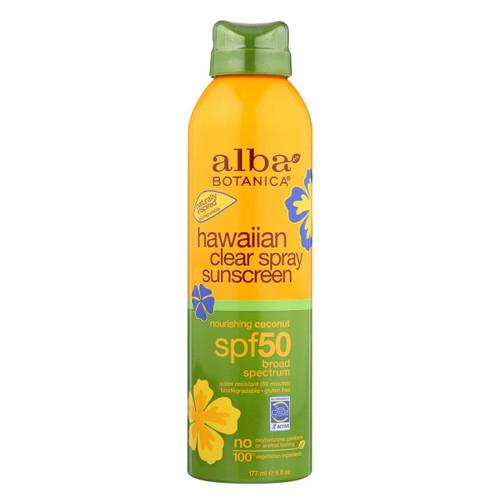 Alba Botanica - Sunscreen - Hawaiian - Clear Spray Spf 50 - Nourishing Coconut - 6 Oz