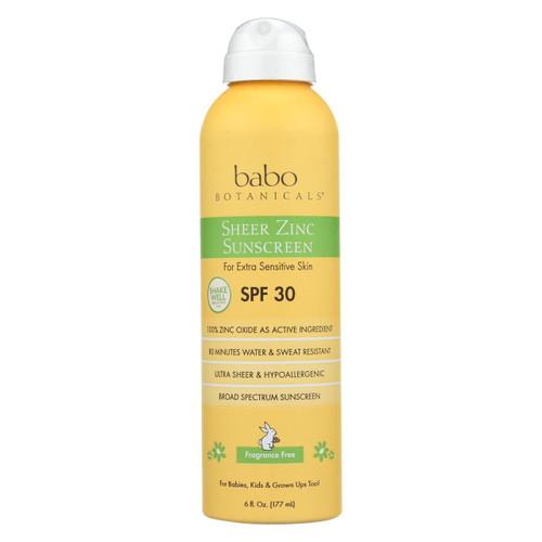 Babo Botanicals - Sunscreen - Fragrance Free - Case Of 1 - 6 Fl Oz.