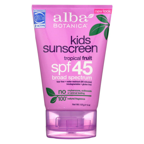 Alba Botanica - Natural Very Emollient Sunscreen For Kids - Spf 45 - 4 Oz