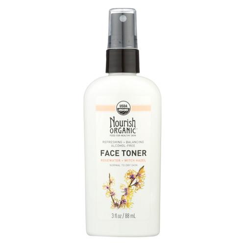 Nourish Organic Face Toner - Refreshing And Balancing - Rosewater And Witch Hazel - 3 Oz