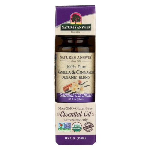 Nature's Answer - Organic Essential Oil Blend - Vanilla And Cinnamon - 0.5 Oz.