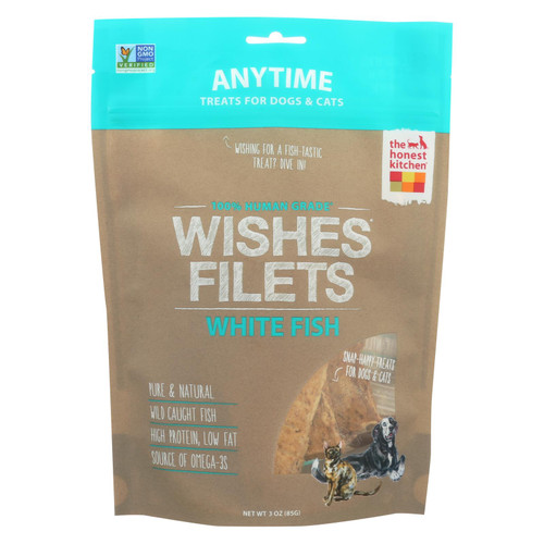 The Honest Kitchen - Dog And Cat Treats - Wishes Filets White Fish - Case Of 6 - 3 Oz.