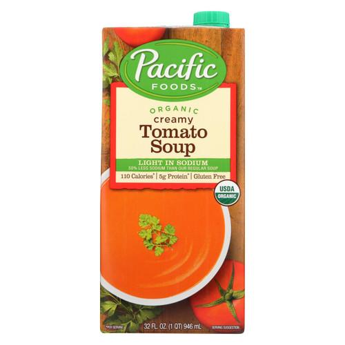 Pacific Natural Foods Creamy Tomato Soup - Light In Sodium - Case Of 12 - 32 Fl Oz.
