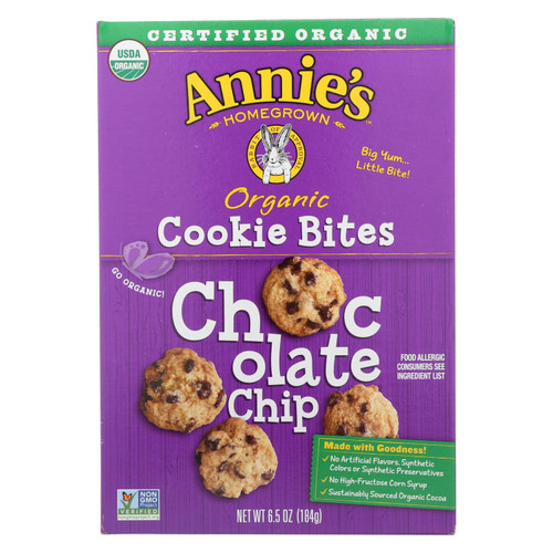 Annie's Homegrown Cookie Bites Chocolate Chip - Case Of 12 - 6.5 Oz