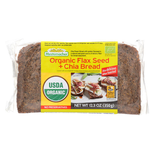 Mestemacher's Organic Flax Seed And Chia Bread  - Case Of 9 - 12.3 Oz