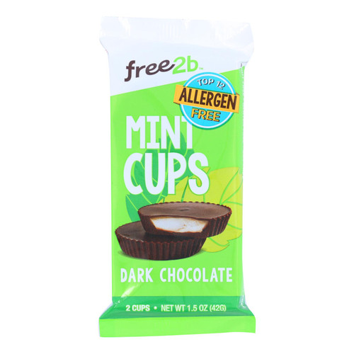 Free 2 B - Mint Cups Dark Chocolate 2-cup - Case Of 12-1.4 Oz