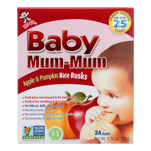 Baby Mum Mum Baby Teething Rice Rusk Apple And Pumpkin Flavored Rice Snack  - Case Of 6 - 1.76 Oz