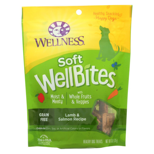 Wellness Soft Wellbites Lamb & Salmon Recipe Natural Dog Treats  - Case Of 8 - 6 Oz