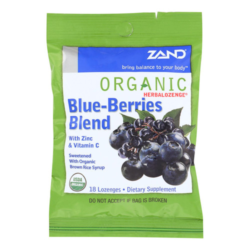 Zand Organic Blueberries Herbalozenges  - Case Of 12 - 18 Ct