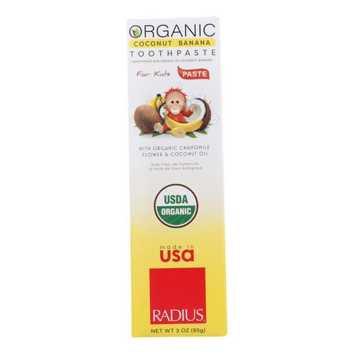 Radius Coconut Banana With Organic Chamomile Flower & Coconut Oil Toothpaste  - 1 Each - 3 Oz