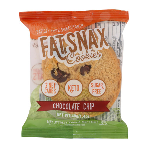 Fat Snax - Cookie Chocolate Chip 2ct - Case Of 20-1.4 Oz