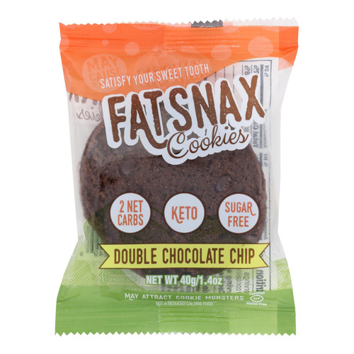 Fat Snax - Cookie Double Chocolate Chips 2ct - Case Of 20-1.4 Oz