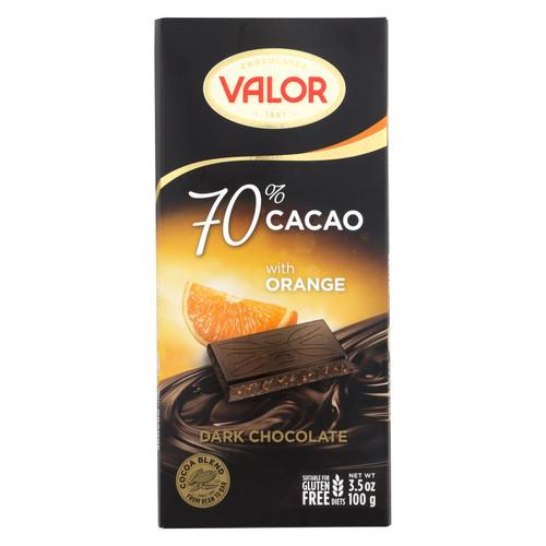 Valor Dark Chocolate With Orange Chocolate Bar  - Case Of 17 - 3.5 Oz