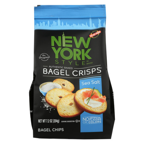 New York Style Bagel Chips, Sea Salt  - Case Of 12 - 7.2 Oz