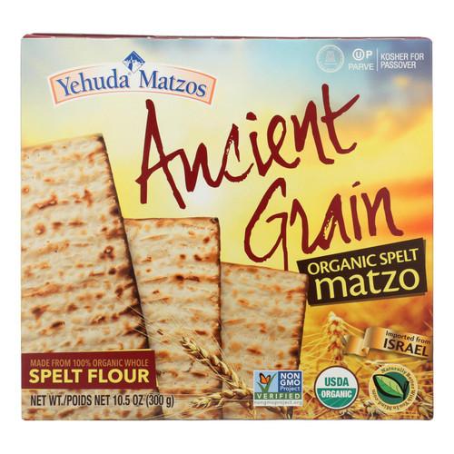 Yehuda Spelt Matzo - Organic - Gluten Free - Ancient Grains - Case Of 24 - 10.5 Oz