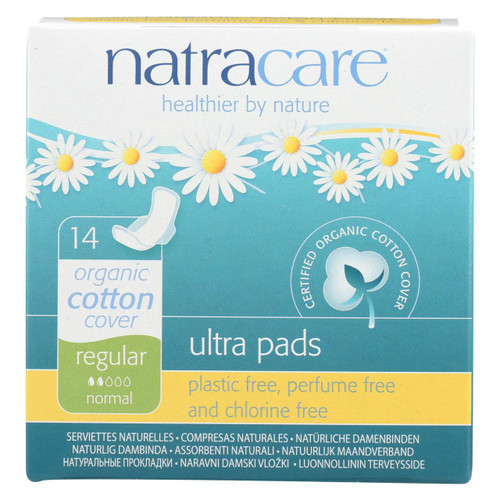 Natracare Natural Ultra Pads w/Wings Regular w/organic Cotton Cover -  14 Count x 6 Packs (84ct total) Free Shipping No Tax