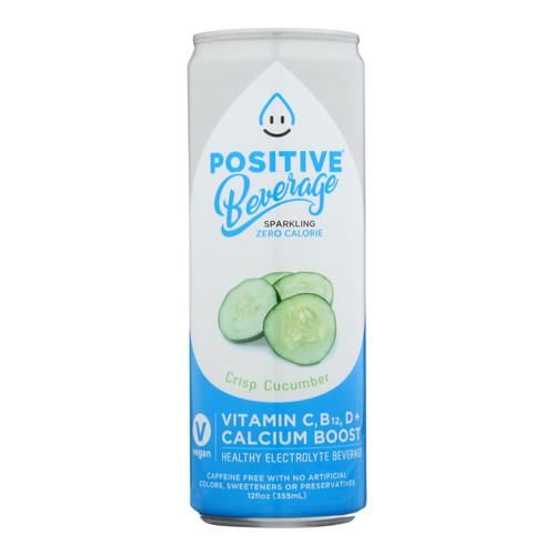 Positive H20 - Sparkling Bev Crisp Cucumber - Case Of 12 - 12 Fz