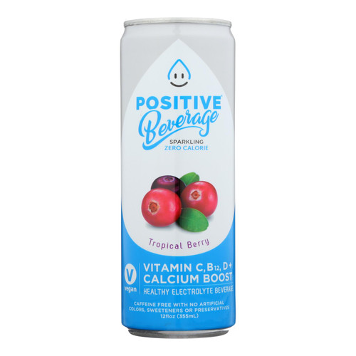Positive H20 - Sparkling Bev Tropical Acai - Case Of 12 - 12 Fz