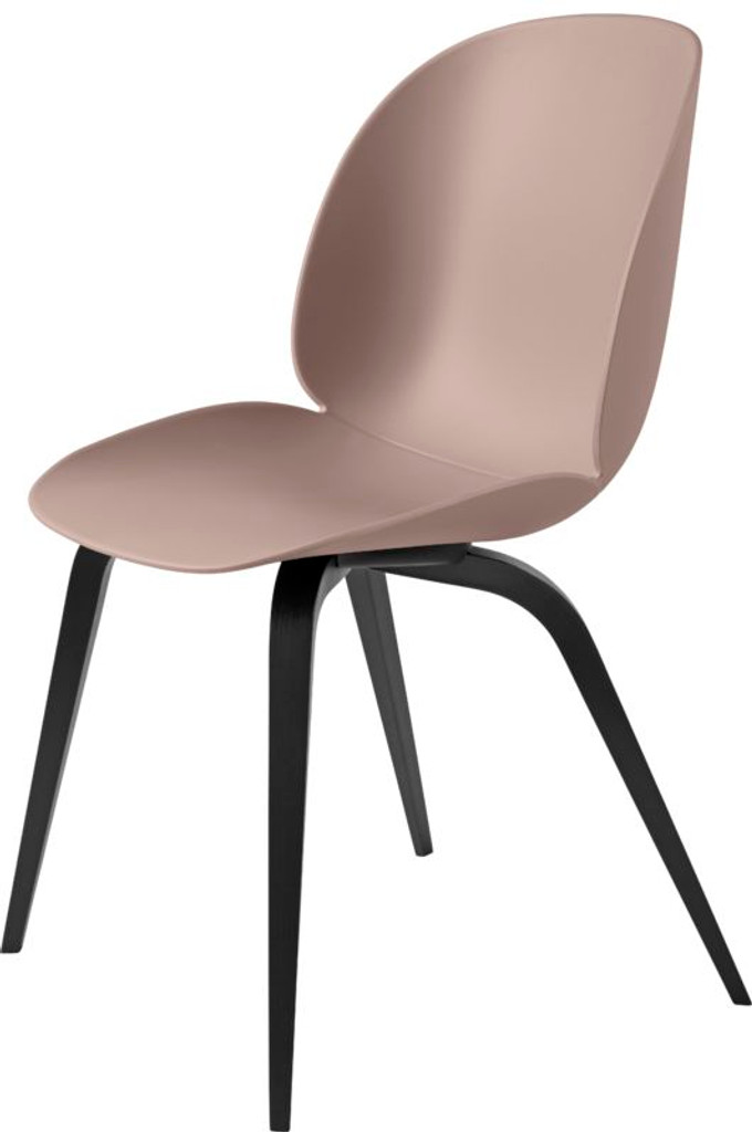 GUBI BEETLE UN-UPHOLSTERED DINING CHAIR - WITH BLACK STAINED LEGS (VARIOUS COLOURS)
