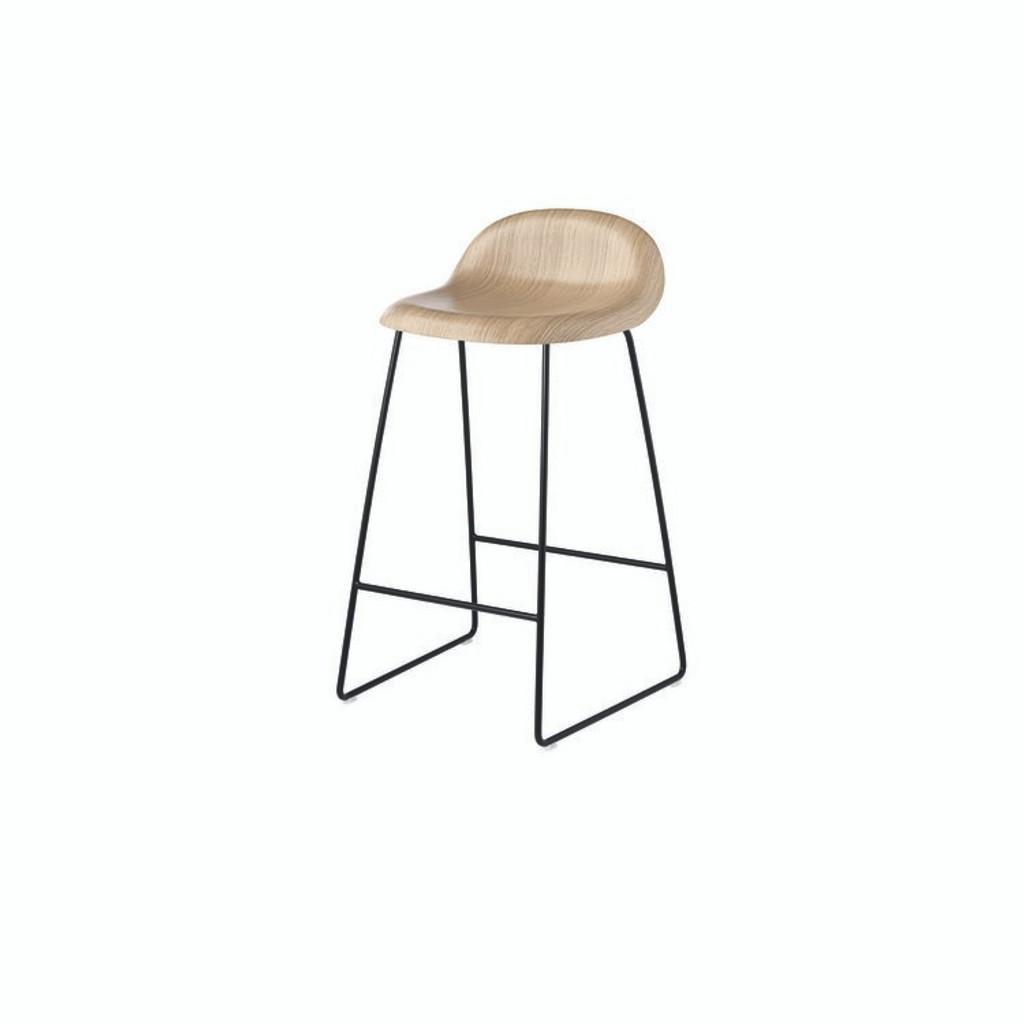 Oak seat with black base