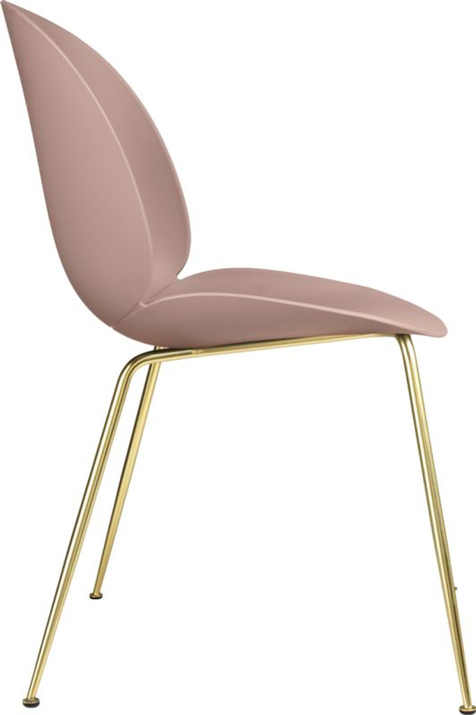 GUBI BEETLE UN-UPHOLSTERED DINING CHAIR CONIC BRASS BASE (VARIOUS COLOURS)