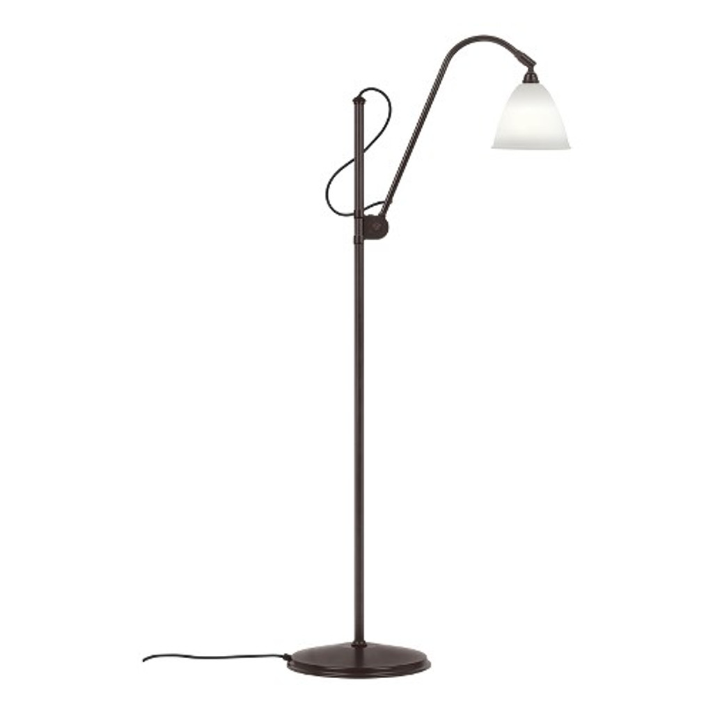 GUBI -  BL3 SMALL FLOOR LAMP BLACK BRASS BASE - BONE CHINA SHADE