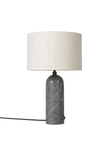 GRAVITY TABLE LAMP GREY MARBLE WITH CANVAS SHADE - SMALL