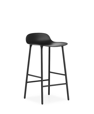 FORM BAR STOOL WITH STEEL BASE BLACK