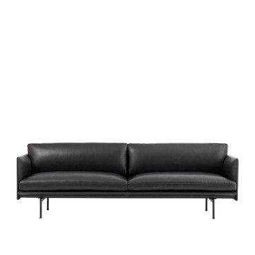 OUTLINE SOFA 3 SEATER BLACK LEATHER