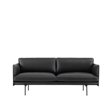 OUTLINE SOFA 2 SEATER BLACK LEATHER