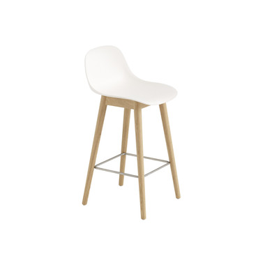 FIBER BAR STOOL WITH BACK AND WOODEN BASE