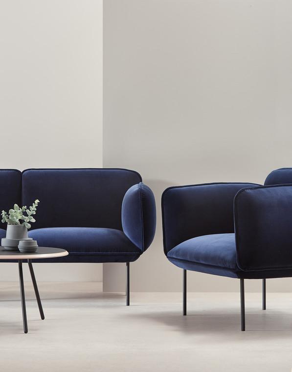 WOUD - NAKKI 1 SEAT SOFA - BLUE VELVET