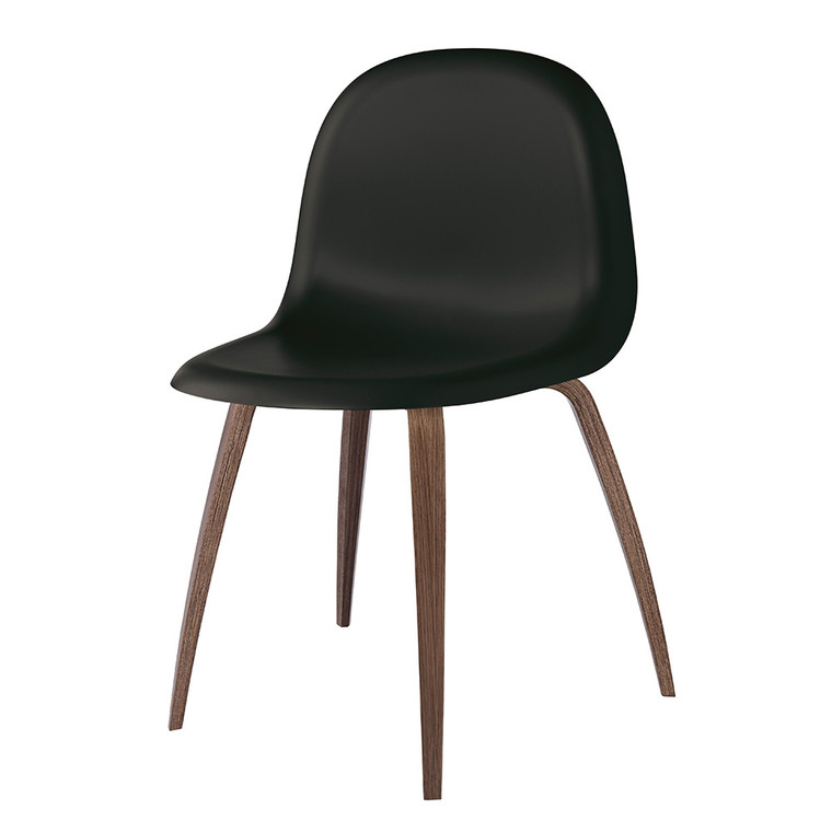 GUBI 3D DINING CHAIR - BLACK WITH WALNUT LEGS