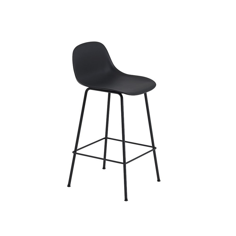 MUUTO - FIBER BAR STOOL WITH BACKREST AND TUBE BASE (VARIOUS COLOURS AVAILABLE)