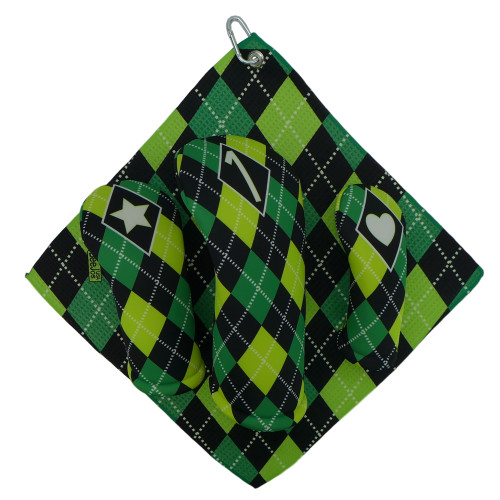 Green and Black Argyle Print Golf Gift Set - 3 Club Head Covers + Matching Towel for Women