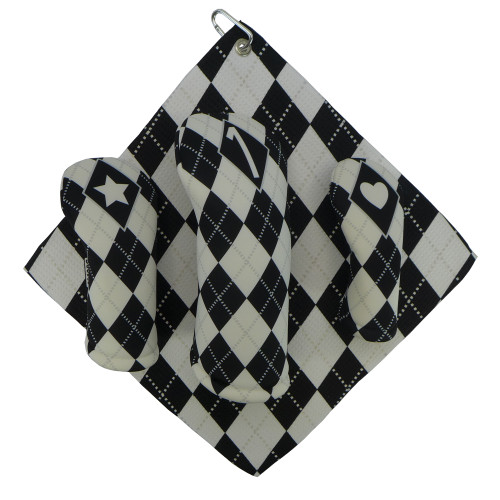 White and Black Argyle Print Golf Gift Set - 3 Club Head Covers + Matching Towel for Women