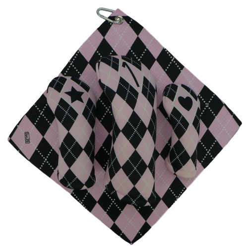 Baby Pink and Black Argyle Print Golf Gift Set - 3 Club Head Covers + Matching Towel for Women