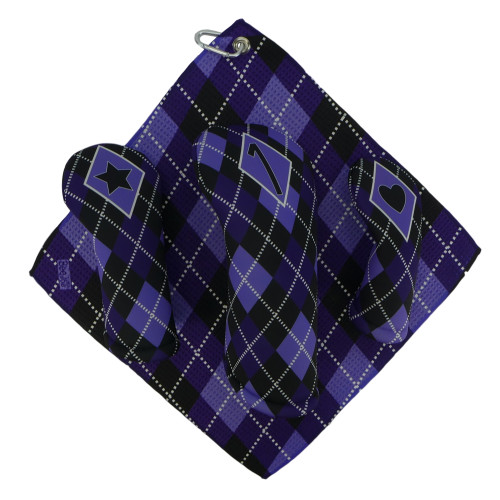 Purple and Black Argyle Print Golf Gift Set - 3 Club Head Covers + Matching Towel for Women