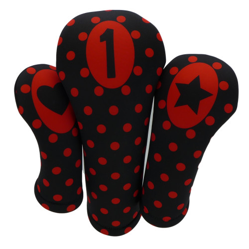Black with Red Polka Dots Print Golf Gift Set - 3 Club Head Covers + Matching Towel for Women