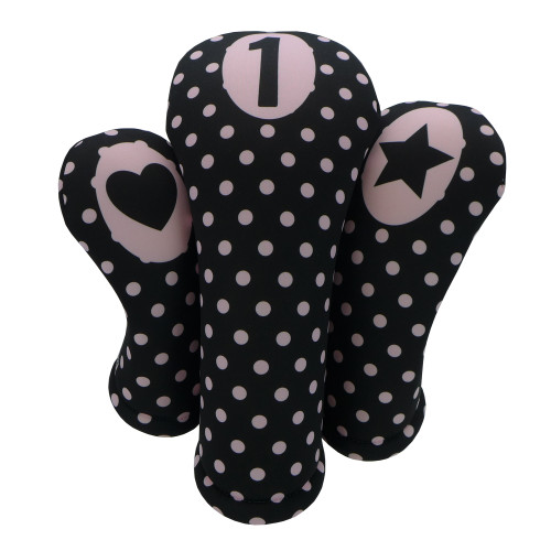 Black with Pink Polka Dots Print Golf Gift Set - 3 Club Head Covers + Matching Towel for Women