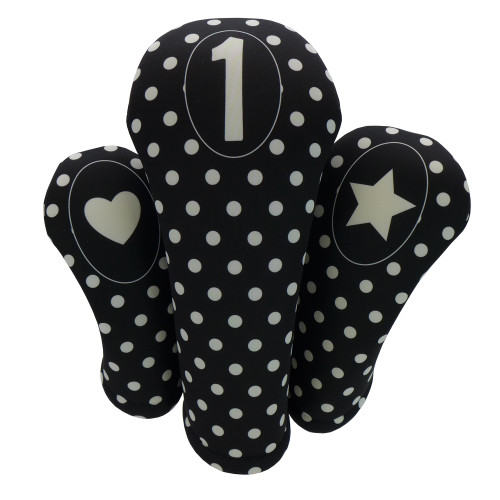 Black with White Polka Dots Print Golf Gift Set - 3 Club Head Covers + Matching Towel for Women