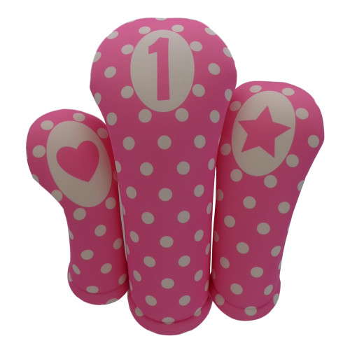 Pink with Pink Polka Dots Print Golf Gift Set - 3 Club Head Covers + Matching Towel for Women