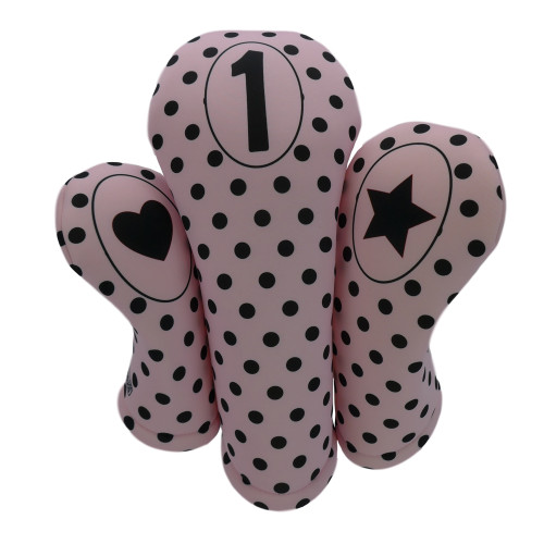 Pink with Black Polka Dots Print Golf Gift Set - 3 Club Head Covers + Matching Towel for Women