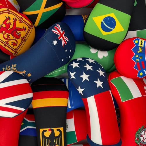 BeeJos World Flag Themed Golf Club Head Covers