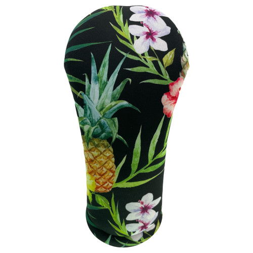 Black Hawaiian Print Golf Club Head Cover by BeeJos - Front