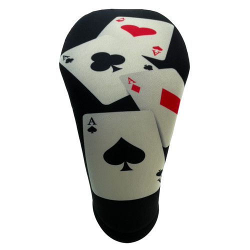 Quad Aces Casino Themed Golf Club Head Cover by BeeJos - Front